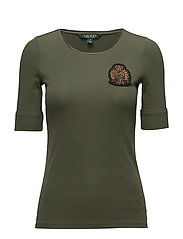 Bullion Stretch Cotton Top - ADMIRAL GREEN