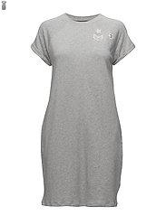 Bullion-Patch Cotton Dress - PEARL GREY HEATHE