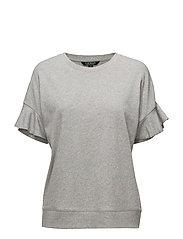 Ruffle-Sleeve Cotton Top - PEARL GREY HEATHE