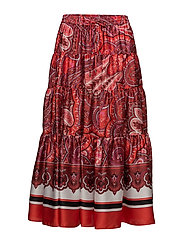 Twill Maxi Skirt - RED MULTI