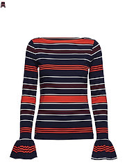 Striped Bell-Cuff Top - MULTI