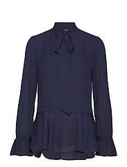 DRAPEY POLY GGT-LS TIE NECK TOP - NAVY