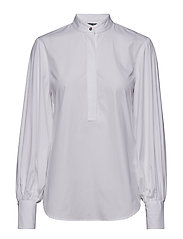 Blouson-Sleeve Cotton Shirt - WHITE