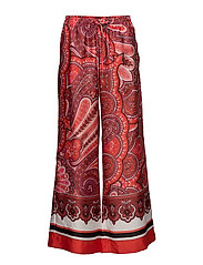 Twill Wide Leg Pant - RED MULTI