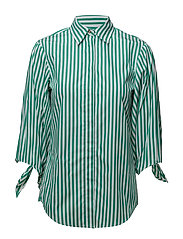 Tie-Sleeve Cotton Shirt - GREEN/WHITE