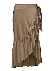 Ruffled Sateen Wrap Skirt - BIRCH TAN