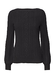 Cable Puff-Sleeve Sweater - POLO BLACK