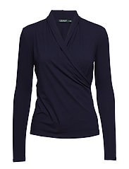 LUXE STRETCH JERSEY-TOP - NAVY