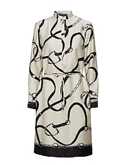 Print Twill Shirtdress - BLACK/CREAM