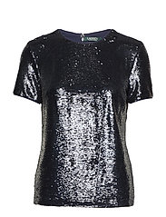Sequined Short-Sleeve Top - NAVY