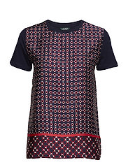 Geometric-Print T-Shirt - NAVY