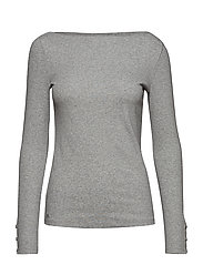 Ribbed Cotton Boatneck Top - PEARL GREY HEATHE