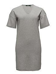 Ruffle-Sleeve Sweater Dress - STONE GREY HEATHE
