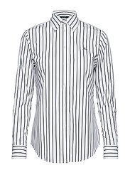 Striped Button-Down Shirt - WHITE/POLO BLACK