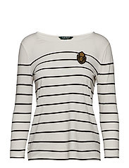 Crest Striped Jersey Top - SILK WHITE/POLO B