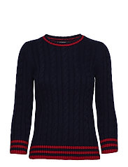 Stripe-Trim Cable-Knit Sweater - NAVY/CRIMSON