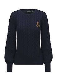 Crest Cable Puff-Sleeve Sweater - NAVY