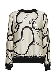 SILKY TWILL-LS CREWNECK TOP - BLACK/CREAM