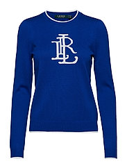 Monogram Cotton-Blend Sweater - BLUE OCEAN/SILK W