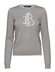 Monogram Cotton-Blend Sweater - PEARL GREY HEATHE