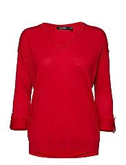 Tab-Sleeve Silk-Blend Sweater - LIPSTICK RED