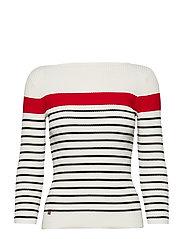 Cotton-Blend Boatneck Sweater - MAS CREAM/LIPSTIC