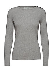 Cotton-Blend Sweater - PEARL GREY HEATHE