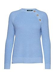 Button-Trim Cotton Sweater - HYDRANGEA
