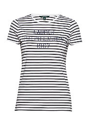 Striped Stencil-Logo T-Shirt - SILK WHITE/POLO B