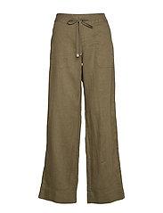 Linen Wide-Leg Pant - DARK SAGE
