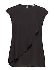 Ruffled Georgette Top - POLO BLACK