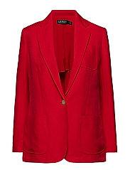 Linen-Blend Twill Blazer - LIPSTICK RED