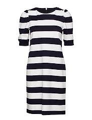 Stripe Puff-Sleeve Ponte Dress