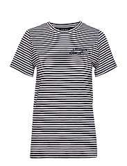 Logo Striped Cotton Tee - LAUREN NAVY/SILK
