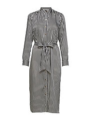 Striped Twill Shirtdress - SILK WHITE/POLO B