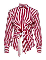 Striped Tie-Front Cotton Shirt - WHITE/LIPSTICK RE