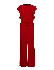 Ruffle-Trim Twill Jumpsuit - LIPSTICK RED