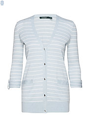 Striped Cotton-Blend Cardigan - ENGLISH BLUE/SILK