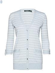 Striped Cotton-Blend Cardigan - ENGLISH BLUE/SILK