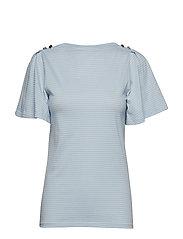 Jersey Flutter-Sleeve Top - ENGLISH BLUE/SILK