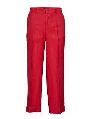 Linen-Blend Wide-Leg Pant - LIPSTICK RED