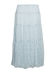 Floral Georgette Peasant Skirt - ENGLISH BLUE MULT