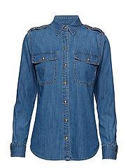 Epaulet Denim Shirt - INDIGO FLORA WASH