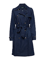 Belted Denim Trench Coat - BLUESTAR WASH