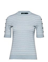 Buttoned Cotton-Blend Sweater - ENGLISH BLUE/SILK