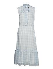 Gingham Tie-Neck Dress - SILK WHITE/ENGLIS