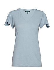 Linen-Blend Flutter-Sleeve Tee - ENGLISH BLUE