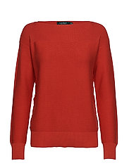Lace-Up Cotton Sweater - CANYON RED