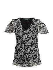 Ruffled Floral Georgette Top - POLO BLACK/SILK W