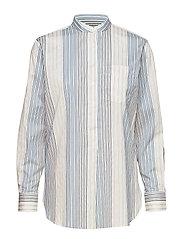Cotton Band-Collar Shirt - CREAM MULTI